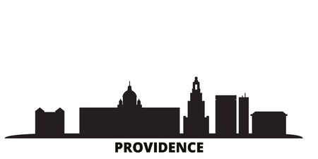 United States, Providence city skyline isolated vector illustration. United States, Providence travel cityscape with landmarks