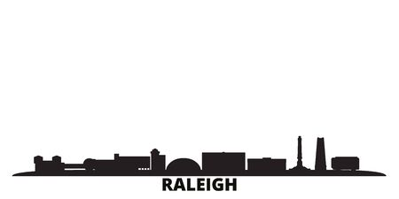 United States, Raleigh city skyline isolated vector illustration. United States, Raleigh travel cityscape with landmarks