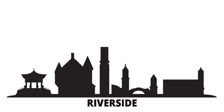 United States, Riverside city skyline isolated vector illustration. United States, Riverside travel cityscape with landmarks