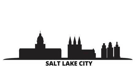 United States, Salt Lake City city skyline isolated vector illustration. United States, Salt Lake City travel cityscape with landmarks