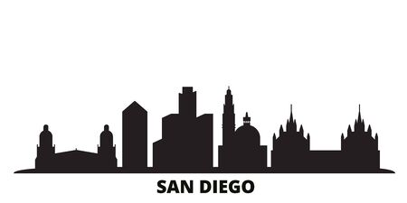United States, San Diego city skyline isolated vector illustration. United States, San Diego travel cityscape with landmarks