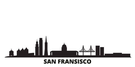 United States, San Francisco city skyline isolated vector illustration. United States, San Francisco travel cityscape with landmarks Ilustrace