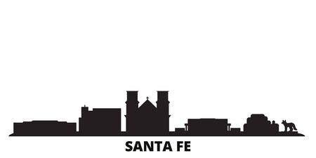 United States, Santa Fe city skyline isolated vector illustration. United States, Santa Fe travel cityscape with landmarks