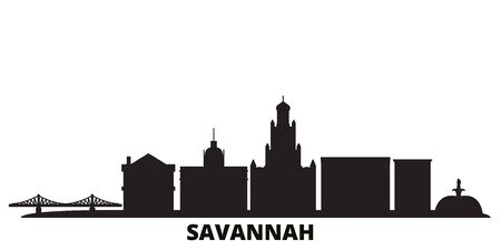 United States, Savannah city skyline isolated vector illustration. United States, Savannah travel cityscape with landmarks