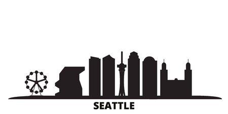 United States, Seattle city skyline isolated vector illustration. United States, Seattle travel cityscape with landmarks