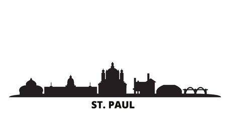 United States, St. Paul city skyline isolated vector illustration. United States, St. Paul travel cityscape with landmarks
