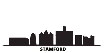 United States, Stamford city skyline isolated vector illustration. United States, Stamford travel cityscape with landmarks