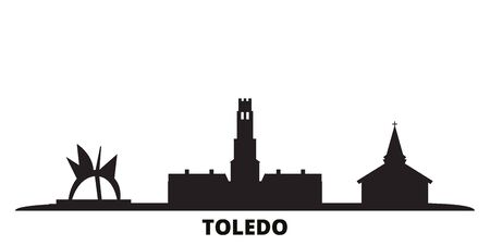 United States, Toledo city skyline isolated vector illustration. United States, Toledo travel cityscape with landmarks