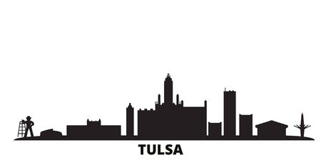 United States, Tulsa city skyline isolated vector illustration. United States, Tulsa travel cityscape with landmarks Ilustração