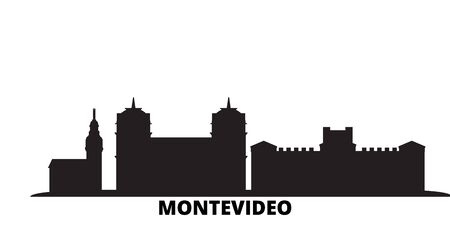 Uruguay , Montevideo city skyline isolated vector illustration. Uruguay , Montevideo travel cityscape with landmarks