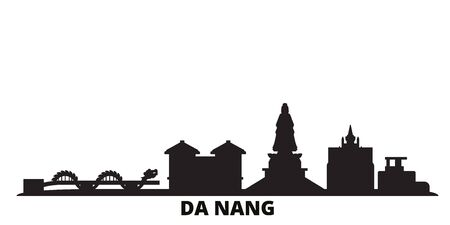 Vietnam, Da Nang city skyline isolated vector illustration. Vietnam, Da Nang travel cityscape with landmarks  イラスト・ベクター素材