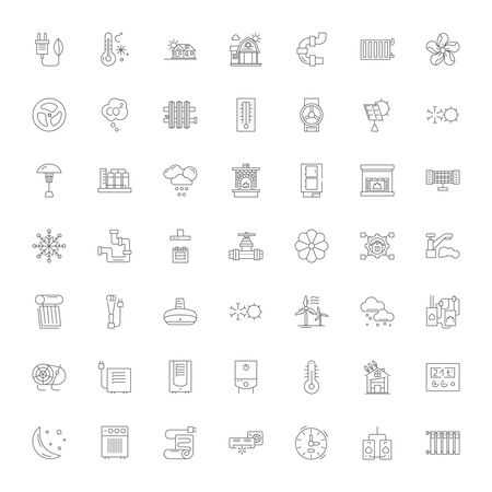 Air conditioner line icons, signs, symbols vector, linear illustration set