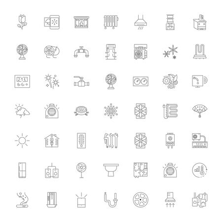 Air cleaning line icons, signs, symbols vector, linear illustration set