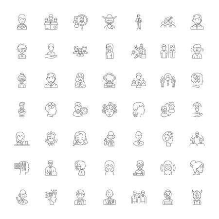 Emotional intelligence line icons, signs, symbols vector, linear illustration set