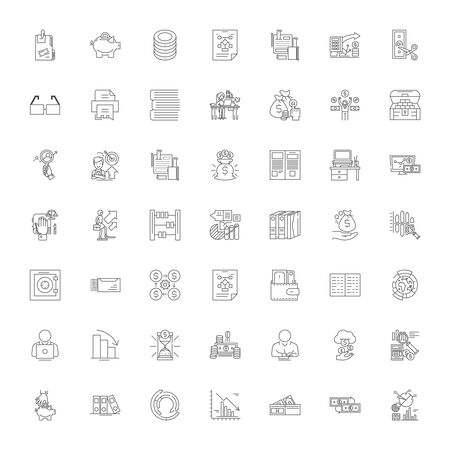 Accounting Business line icons, signs, symbols vector, linear illustration set