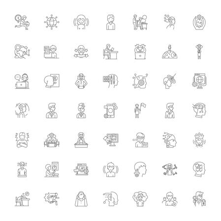 Corporate growth line icons, signs, symbols vector, linear illustration set