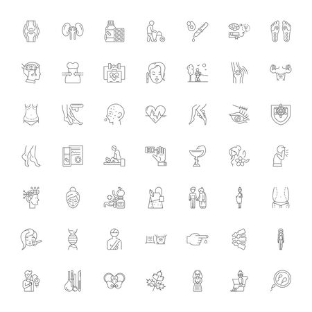Traditional medicine line icons, signs, symbols vector, linear illustration set