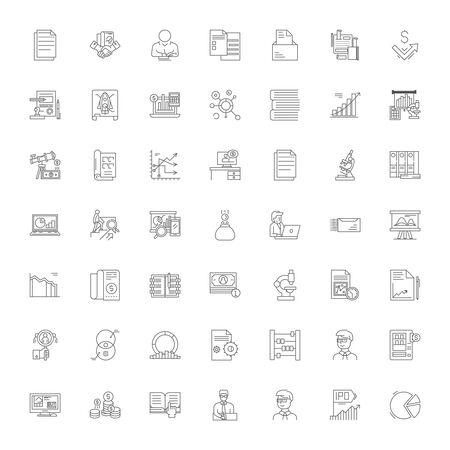 Analytical tools line icons, signs, symbols vector, linear illustration set Vektorové ilustrace