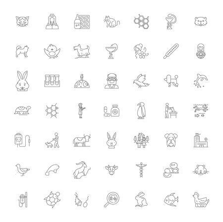 Pet shop line icons, signs, symbols vector, linear illustration set