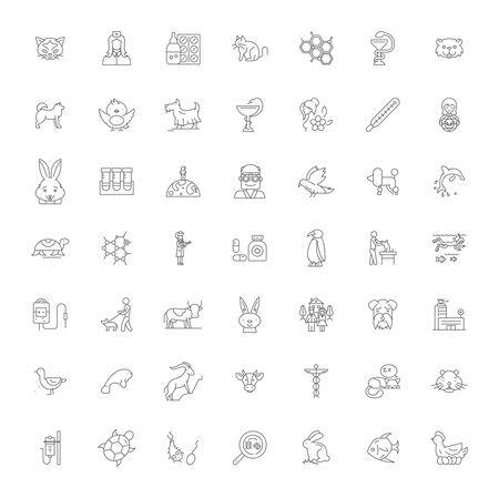 Pet shop line icons, signs, symbols vector, linear illustration set