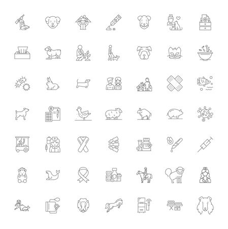 Anymal love line icons, signs, symbols vector, linear illustration set Stock Vector - 134821550