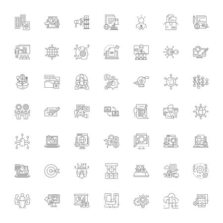 Searching line icons, signs, symbols vector, linear illustration set