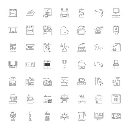 Household line icons, signs, symbols vector, linear illustration set