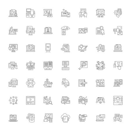 Mobile application programming line icons, signs, symbols vector, linear illustration set