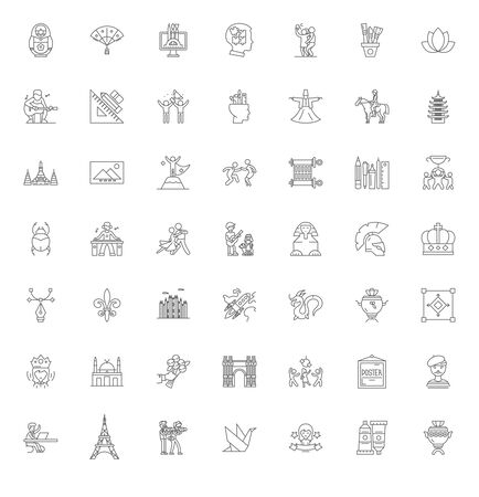 Art history line icons, signs, symbols vector, linear illustration set 向量圖像