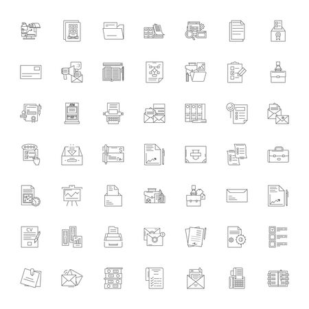 Paperwork line icons, signs, symbols vector, linear illustration set Stock Vector - 135161139