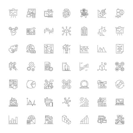 Business evalutation line icons, signs, symbols vector, linear illustration set