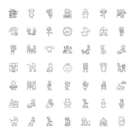 Children games line icons, signs, symbols vector, linear illustration set
