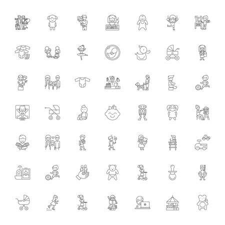 Kinderen spelen lijn pictogrammen, tekens, symbolen vector, lineaire afbeelding set Vector Illustratie