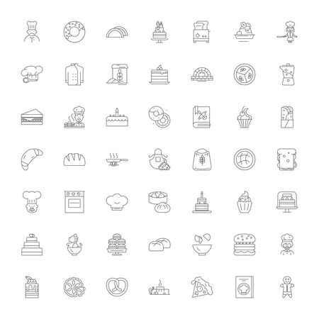 Pastry line icons, signs, symbols vector, linear illustration set