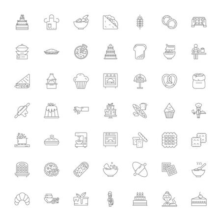 Home cooking line icons, signs, symbols vector, linear illustration set