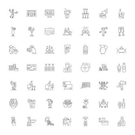 Pub line icons, signs, symbols vector, linear illustration set Çizim