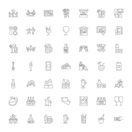 Night club line icons, signs, symbols vector, linear illustration set Illustration
