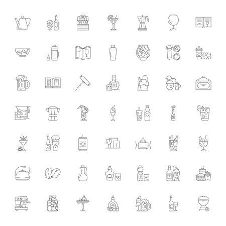 Drinking line icons, signs, symbols vector, linear illustration set Çizim