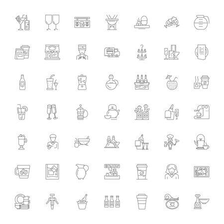 Bar and restaurant line icons, signs, symbols vector, linear illustration set Çizim