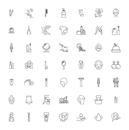 Spa services line icons, signs, symbols vector, linear illustration set