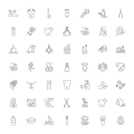 Woman care line icons, signs, symbols vector, linear illustration set