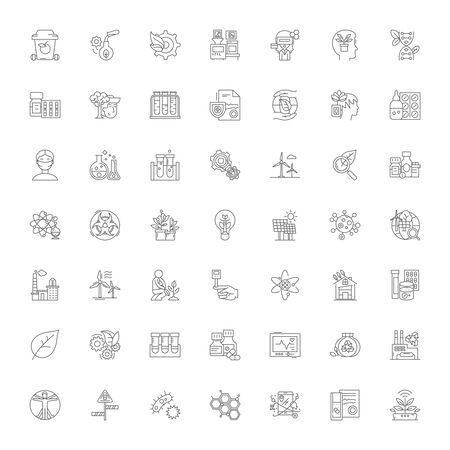 Bioengineering line icons, signs, symbols vector, linear illustration set