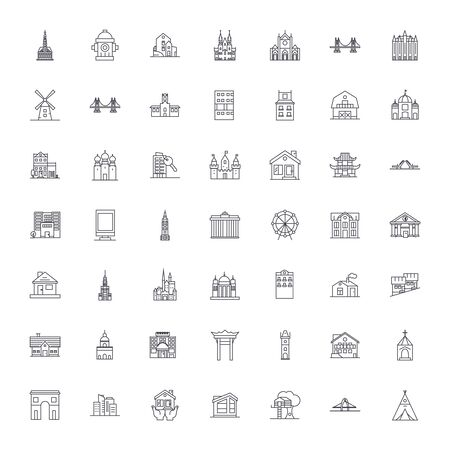 Buildings collection line icons, signs, symbols vector, linear illustration set