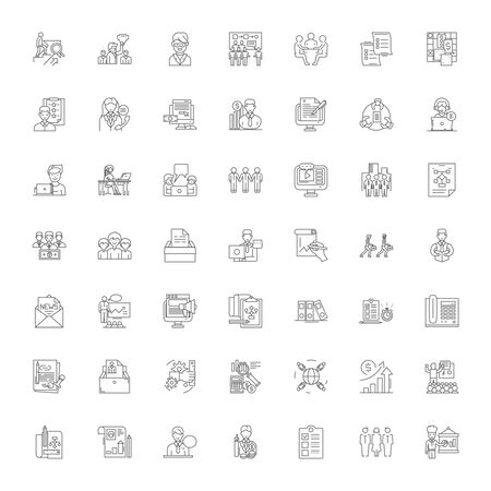 Business administration line icons, signs, symbols vector, linear illustration set