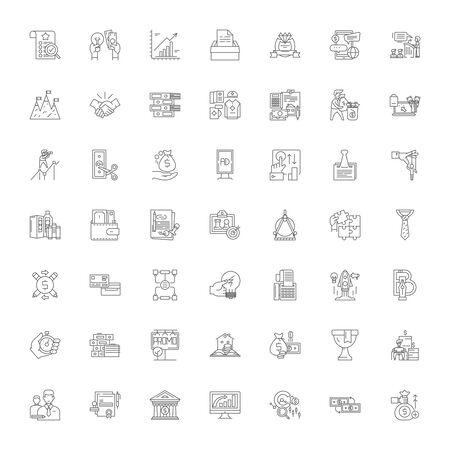Business metaphors line icons, signs, symbols vector, linear illustration set