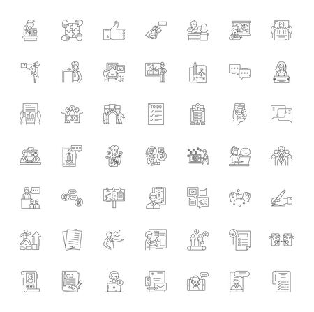 Business ethics line icons, signs, symbols vector, linear illustration set