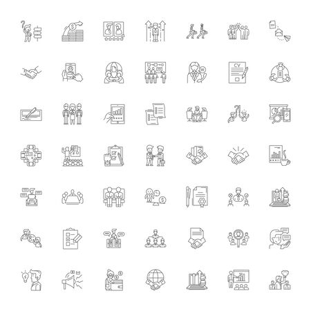 Business rules line icons, signs, symbols vector, linear illustration set