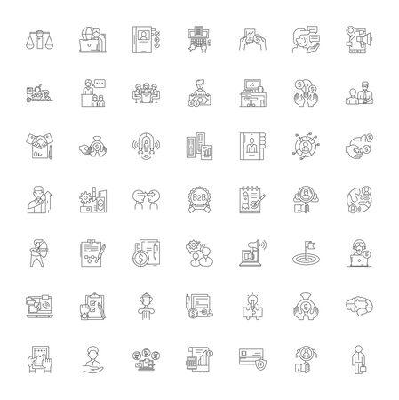 Startup line icons, signs, symbols vector, linear illustration set