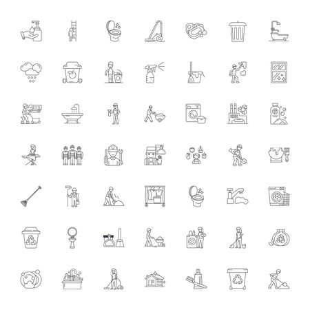 Cleaning line icons, signs, symbols vector, linear illustration set