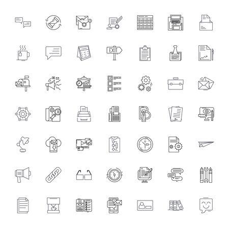 Business office line icons, signs, symbols vector, linear illustration set Ilustracja